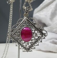 925 Sterling Silver Overlaid Striped Onyx Filigree Pendant w/Chain