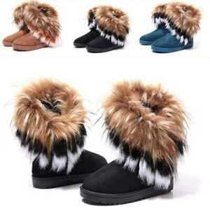 Winter Boots Womens Faux Fur Suede Mid Calf Warm Snow Wild Plush Shoes Casual ^