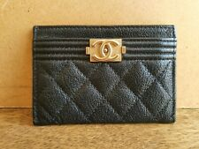 Authentic CHANEL Caviar Boy Card Wallet Brushed Gold 2019 Authenticate4U