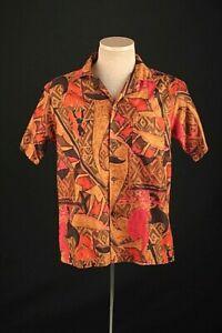 Men's 1950s 1960s Loop Collar Hawaiian Surf Short Sleeve Shirt Small 50s 60s Vtg
