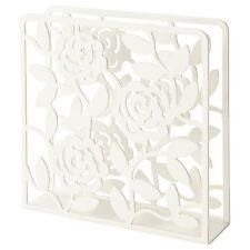 3 X IKEA LIKSIDIG Napkin Serviette Holder White Floral Design Metal 16x16cm