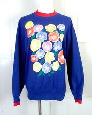 vtg 80s 90s Quips Colorful women's Puffy Paint Floral Graphic Sweatshirt sz L