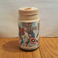 1976 Marvel Comics Super Heroes Lunch Box Thermos ONLY Hulk Spider-Man Iron Man