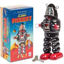 Tin Mechanical Planet Robot - BLACK - Fun Clockwork Traditional Collectible Toy