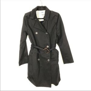 Old Navy Size Medium Black Button Up Trench Coat
