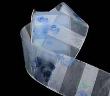 "3 Yards Blue Rose Roses Sonata Stripe Sheer Wired Ribbon 2""W"