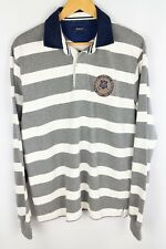 Gant Rugby Shirt Polo Neck Grey Striped Cotton size L