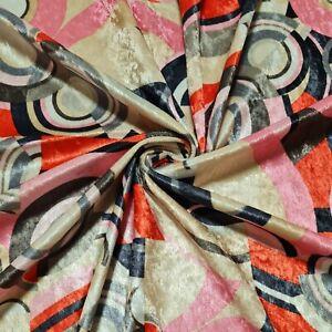 "Plush Velvet Jersey Fabric Geometric Printed Multicoloured 55"" Wide"