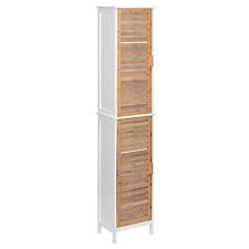 Mdf Floor Standing Tall Cabinet White & Bamboo-2 Door With 2 Inner Shelves-Bathr