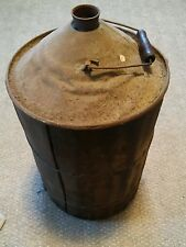 000 Vintage Wood Wrapped Metal Cone Top Gas Oil Kerosene Can 3 5 Gallon