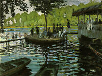 Art Oil painting Monet - Frog pond Casual people in summer sunset landscape