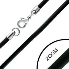 BLACK RUBBER 3mm NECKLACE CHAIN CORD STAINLESS STEEL CLASP
