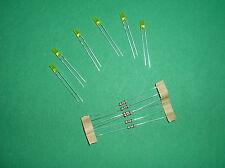 TRAIN.HO.6 LED JAUNES . CYLINDRIQUES  3 mm + 6 RÉSISTANCES . ROCO,FLEISC