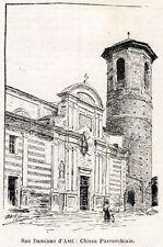 SAN DAMIANO D'ASTI: Chiesa .Alto Monferrato. Asti. Piemonte. + Passepartout.1901