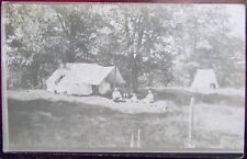 FATHER MOTHER BABY CAMPING in LG. TENT 1918 ANTIQUE VINTAGE RPPC PHOTO POSTCARD