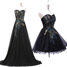 BLACK PEACOCK Short/Long Peacock Bridesmaid Cocktail Evening Prom Formal Dresses