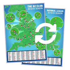 More details for 2019/2020 football ground map 92 club + national league ~ double-sided a1 poster