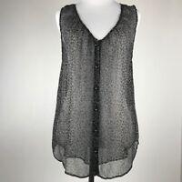 Joie Women Brown Black Leopard Print Sleeveless Button Front Sheer Top sz S