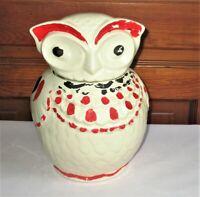 """Vintage Owl Cookie Jar 1940's American Bisque White Red Ceramic Kitchen 10"""""""