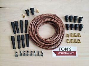 DIY Universal Cloth Covered Spark Plug Wire Kit Set Vintage Wires v6 v8 Brown Bk