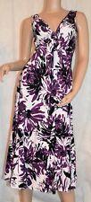 M&S Size 10 Lovely Lightweight Linen Floral Print Magenta Purple Occasion Dress