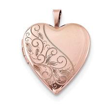 .925 Sterling Silver Rose Gold Tone Small 20mm Swirl Heart Locket