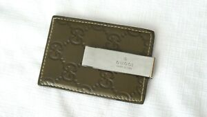 SUPER RARE! $$$ GUCCI GG Leather & Stainless Money Clip Wallet Card Holder