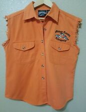 Orange County Choppers Distressed Embroidered Denim Button Down Vest Jacket -Sm