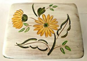Vintage Stangl Cigarette Box & Lid Garden Flower (Terra Rose) Yellow