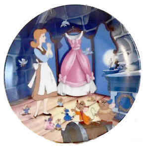 1989 DISNEY A DRESS FOR CINDERELLY W/ GUS & JAQ PLATE # 535 KNOWLES