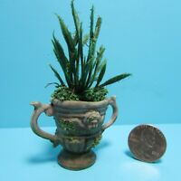 Dollhouse Miniature Handcrafted Brown Moss Urn Filled Razor Grass and Greenery