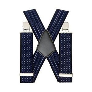 Men's X Shape Braces Adjustable and Elastic Suspenders Jeans Strong Clips 50mm