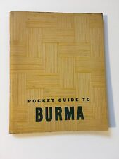 1943 Pocket Guide To Burma War & Navy Department Issue~Excellent Condition