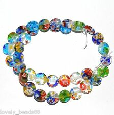 50Pcs Mixed Flat Shape Millefiori Glass Beads Loose Space Beads Charms DIY 6mm