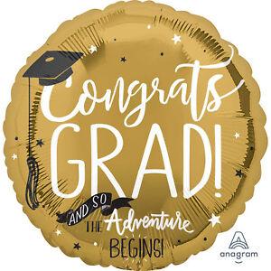Large Congrats Graduation & So the Adventure Begins Gold Foil Helium Balloon