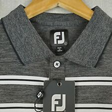 NWT FOOTJOY Size Large Mens Space Dye Golf Polo Shirt Gray Heathered Lisle NEW