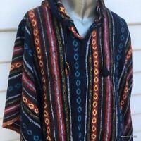 Cotton Poncho for Men & Women Mexican Baja Style Gheri Multicolour Stripped Cape