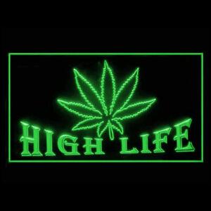 220001 Marijuana Hemp Leaf High Life fabulous Display LED Light Neon Sign