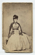 CIVIL WAR ERA CDV TAX STAMP. WOMAN IN HAT AND SHAWL. BATH, N.Y.