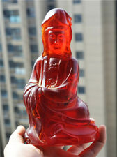 TIBETAN OLD ANTIQUE AMBER CARVED QUAN KWAN YIN STATUE GUANYIN BUDDHA TIBET