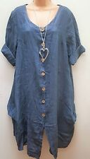 New Italian Lagenlook Blue Linen Button Front Dress Tunic Top 12 14 16 18