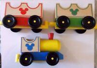 "CUTE! Disney Mickey Mouse  All Aboard Wooden Train Set Melissa & Doug!  17"""