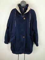 WOMENS PHASE NAVY BLUE ZIP/BUTTON UP ADJUSTABLE CASUAL WINTER COAT JACKET UK 10