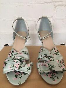 Ladies M&S Floral Fabric Stilleto Open Toe Shoes/ Sandles Size 4.5 Mint Wide Fit
