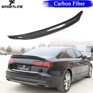 Carbon Fiber Rear Trunk Spoiler Bodykit Wing Lip Fit For Audi A6 C7 Sedan 12-18