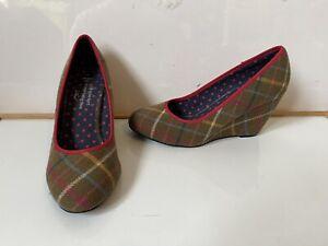 Ness Scotland Tweed Tartan Shoes Size UK 5 EU 38