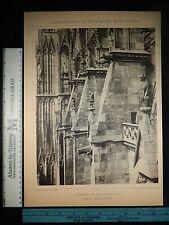 Rare Antique Orig VTG Strasbourg Münster Zu Strassburg Photogravure Art Print