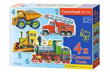 Castorland B-04256 4x Puzzle Vehicles Fahrzeuge Eisenbahn Kinderpuzzle 22 Teile