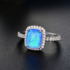 Princess Cut White/Blue Fire Opal CZ Wedding Rings White Gold Jewelry Size 5-11