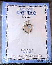 NIP - Ganz Birthstone Cat Tag Charm Heart w/ Paw Shape Stones ~ DECEMBER/Blue